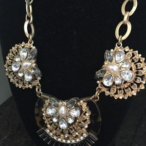 Jewelry - Statement necklace, goldtone/clear stones GORGEOUS